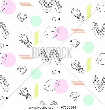 Spirals and sphere shapes seamless vector pattern. Abstract shapes, spheres, spirals and elements in eighties fashion style. Color lines on white.