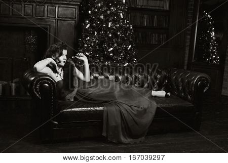 Enigmatical Woman In Home Interior In Bw