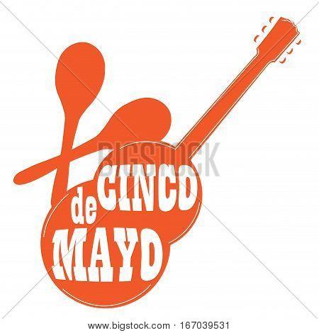 Isolated silhouette of a guitar and maracas, Cinco de mayo vector illustration
