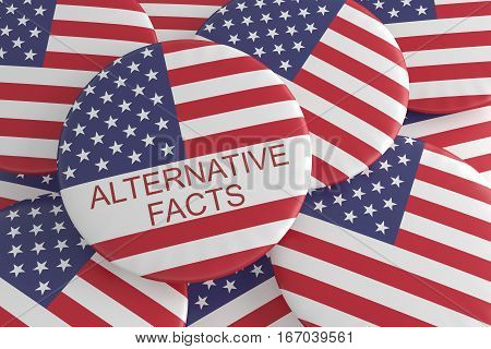 USA Media News Concept Badge: Pile With Alternative Facts Button With US Flag 3d illustration