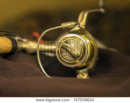 The golden fishing reels on the fishing rod