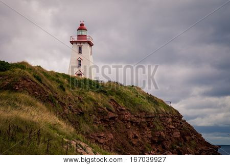 Lighthouse on a hill in prince edward island