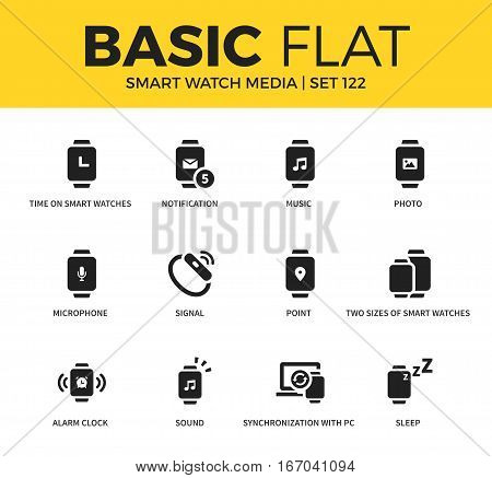 Basic set of notification, signal and sleep icons. Modern flat pictogram collection. Vector material design concept, web symbols and logo concept.
