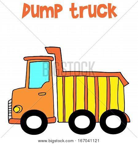 Yellow dump truck cartoon vector collection stock