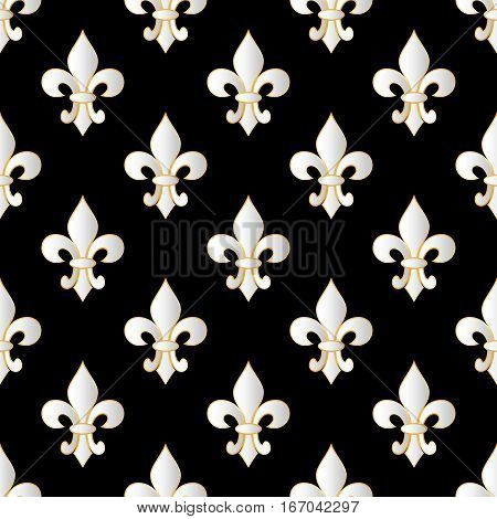 Mardi Gras Carnival seamless pattern with fleur-de-lis. Mardi Gras endless background texture wrapper. Vector illustration EPS10.