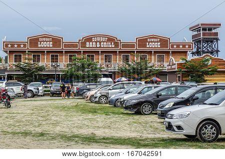Tuaran,Sabah,Malaysia-Jan 22,2017:Sabandar Leisure Rides cowboy town in Tuaran,Sabah features are a 19th century American lodge,stables,restaurants,paddocks,riding trails & lots of horses