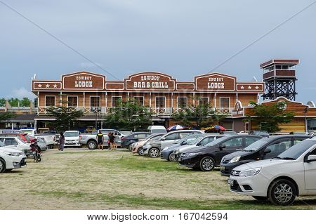 Tuaran,Sabah,Malaysia-Jan 22,2017:Sabandar Leisure Rides cowboy town in Tuaran,Sabah features are a 19th century American lodge,stables,restaurants,paddocks,riding trails & lots of horses