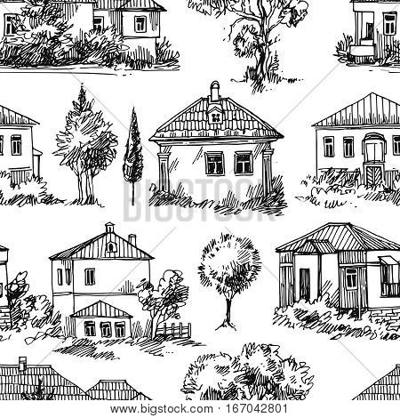 Hand drawn vector seamless pattern with village houses and tree. Sketch style. Drawing by hand.