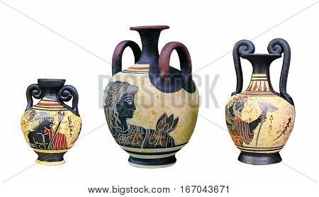 Ancient Greek vase isolated on white background. Traditional amphora with the Images of Aphrodite and Zeus (Dias). A set of three vases.