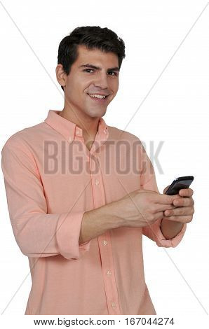 Handsome man using a cell phone for texting