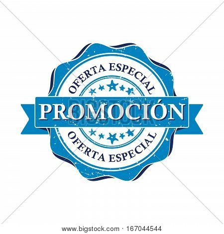 Promotion. Special offer - Spanish business printable stamp (Promotion. Oferta especial). CMYK colors used