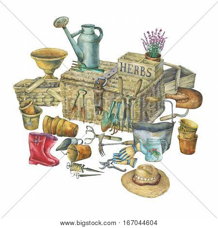 Illustration of gardening tools. Hand drawn watercolor painting on white background.