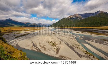 Landscape View Of The River And Mountains At Arthur's Pass, Nz
