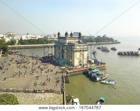MUMBAI INDIA - JANUARY 11 2017: Gateway of India. The Gateway of India was built to commemorate the visit of King George V and Queen Mary to Mumbai in 1911.