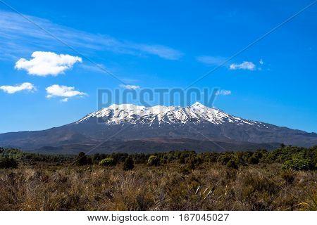 Landscape View Of Mt Ruapehu In Tongariro National Park, Nz