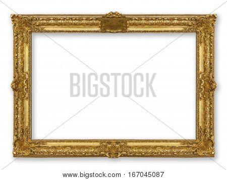 retro frame gold isolated on white background
