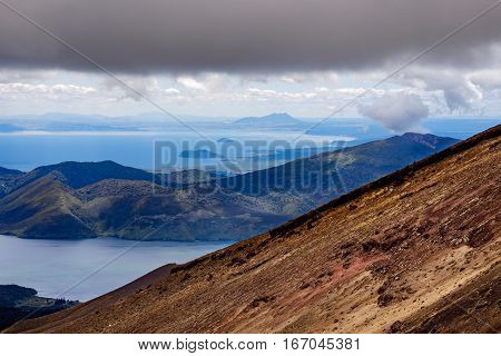 Volcanic Landscape And Ocean View At Tongariro, New Zealand