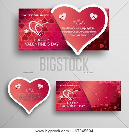 Vector set of greeting paper heart for Valentine's Day insert in case with dark red and pink pattern from hearts on the gray background.