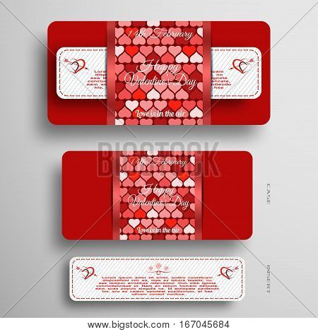 Vector set of red and white greeting card for Valentine's Day with insert stripe and red pattern on the gray background.