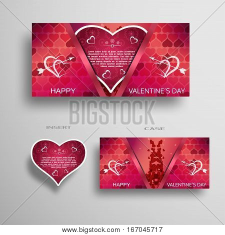 Vector set of red greeting card with pattern for Valentine's Day insert in the case on the gray gradient background.