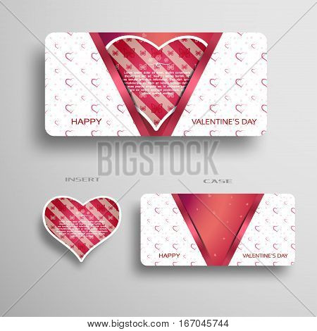 Vector set of red greeting card with pattern for Valentine's Day insert in the case with light pattern on the gray gradient background.
