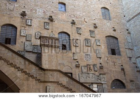 Italy Florence - October 02 2016: view of the inner courtyard wall in the Museo Nazionale del Bargello on October 02 2016 in Florence Italy