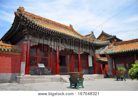 Diguang Hall in the Shenyang Imperial Palace (Mukden Palace), Shenyang, Liaoning Province, China. Shenyang Imperial Palace is UNESCO world heritage site built in 400 years ago.
