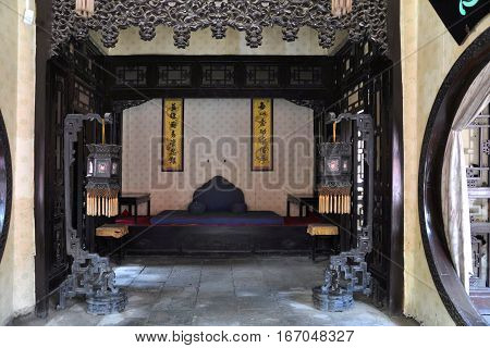 Inside view of Jisi House in the Shenyang Imperial Palace Mukden Palace, Shenyang, Liaoning Province, China. Shenyang Imperial Palace is UNESCO world heritage site built in 400 years ago.