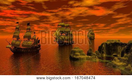 3d digital rendering of three sailing ship in the early morning
