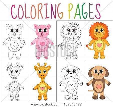 Coloring book page set. Animals collection. Sketch and color version. Coloring for kids. Childrens education. Vector illustration