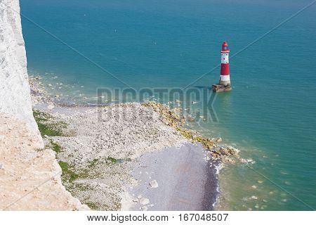 Clifftop Beachy head, Seven SIsters National Park, East Sussex UK; view of the lighthouse
