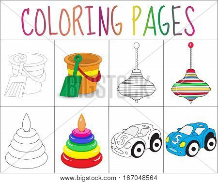 Coloring book page set. Toys collection. Sketch and color version. Coloring for kids. Childrens education. Vector illustration