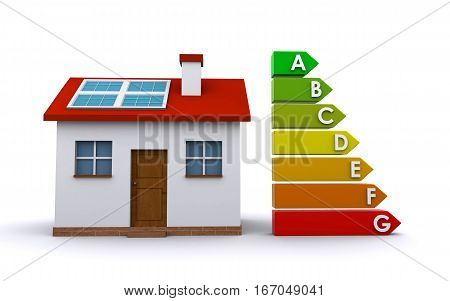 house with energy efficiency chart (3d rendering)
