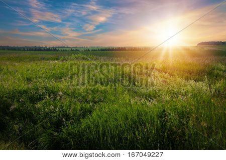 Sunrise over a farm in rural Prince Edward Island, Canada