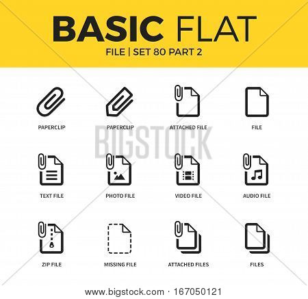 Basic set of photo file form, zip file and missing file icons. Modern flat pictogram collection. Vector material design concept, web symbols and logo concept.