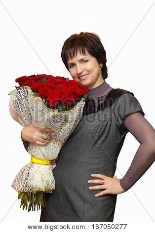 Portrait of a Beautiful brunette woman with bouquet of flowers and ingenuous smile isolated on white