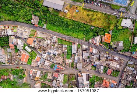 Crowded Downtown Building In Banos De Agua Santa Tungurahua Province South America