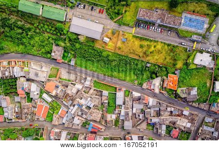 Aerial View Of Residence Districts In Banos De Agua Santa Tungurahua Province South America