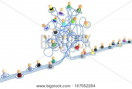 Crowd of small symbolic 3d figures linked by lines tangled chaotic network line isolated