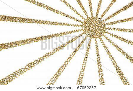 Crowd of small symbolic figures yellow sun rays shape 3d illustration horizontal