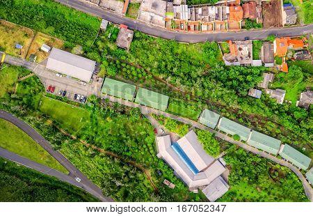 Aerial Panoramic View Over Banos De Agua Santa Tungurahua Province South America