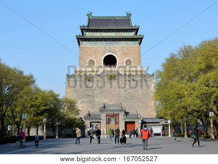 BEIJING, CHINA - NOVEMBER, 2016: The historic bell tower was once a time keeper but is now a major tourist attraction.