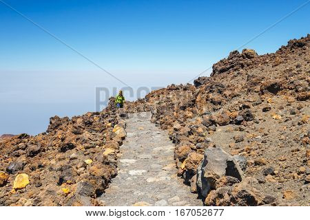 at the top of the El Teide volcano Tenerife