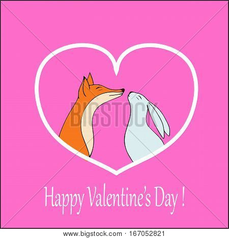 Vector hearts. Love-Happy Valentines day card with cute fox and rabbit-stock vector. Vector hearts.