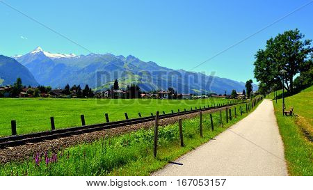 Bike path and Walking path in Zell am See, Austria