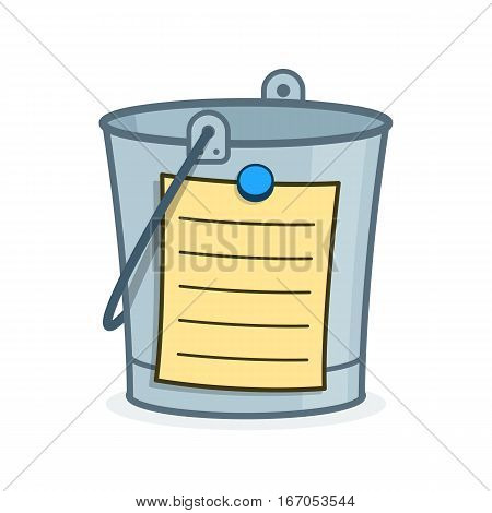 Bucket List cartoon concept with a metal pail and adhering blank list with lines for the addition of your wishes goal and aspirations to achieve in your lifetime before your death vector