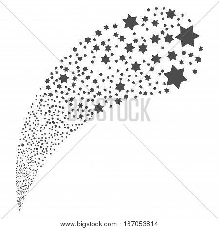 Six Pointed Star random source stream. Vector illustration style is flat gray iconic symbols on a white background. Object fountain organized from design elements.