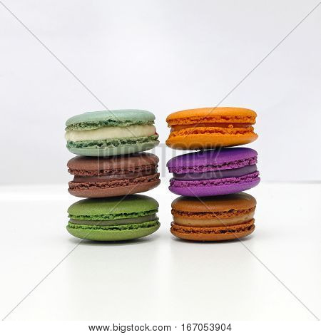 Stacked Macarons in Different Flavors and Colors