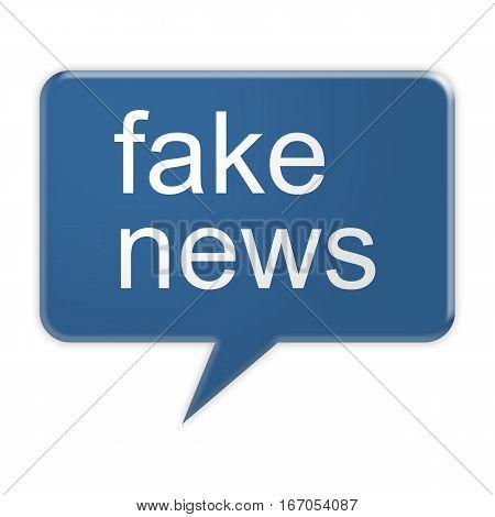 Social Media Concept: Blue Fake News Speech Balloon 3d illustration isolated on white background