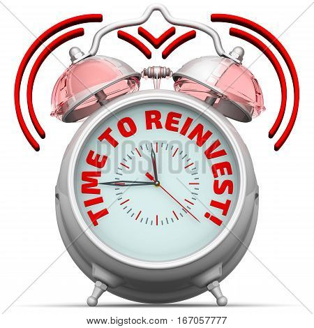 Time to reinvest! The alarm clock with an inscription. Alarm clock with the words